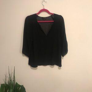 Babaton with silk black pompom blouse 3/4 sleeve